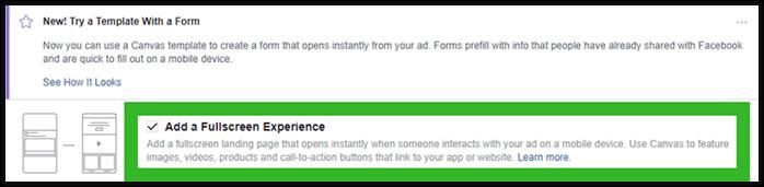 Integrazione del Canvas a livello Inserzione: il primo passo per creare un Canvas Lead Ads