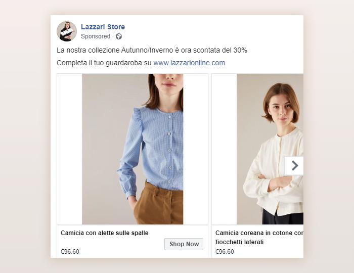 Un esempio d'inserzioni Lazzari su facebook: il carosello dinamico