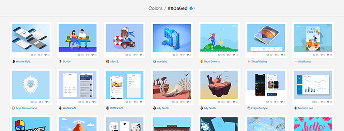Dribbble colors: per filtrare i design in base al colore