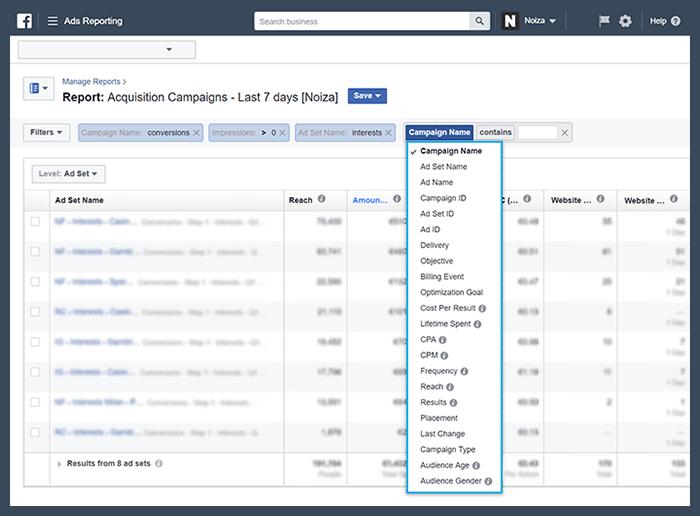 usare i filtri di Ads Manager per effettuare le analisi