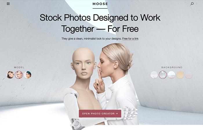 Moose e il suo editor fotografico per creare immagini stock personalizzate