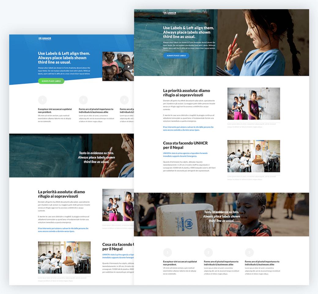 Esempi di layout delle pagine di donazione